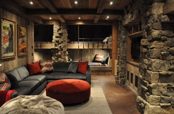 bunk bed inspiration stone living room cabin
