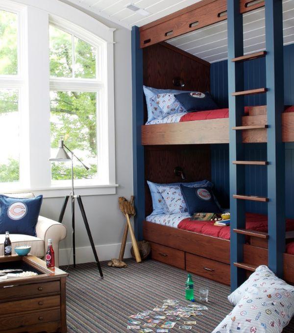 classic kids bunk bed idea wood blue design