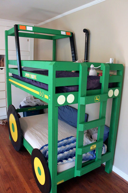 kids bunk bed tractor theme